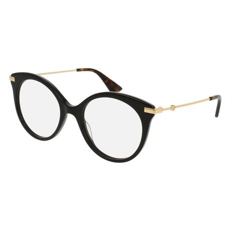 Gucci // Women's GG0109O-001 50 Optical Frames // Black + Gold