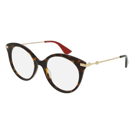 Gucci // Women's GG0109O-002 50 Optical Frames // Havana + Gold