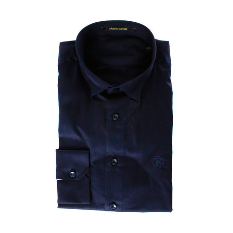 Slim Fit Navy Dress Shirt // Navy (US: 15R)