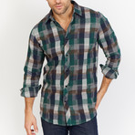 Blanc // Checkered Button Up // Black + Green (Large)