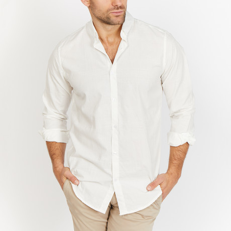 Blanc // Check Button Up // White + Cream (Medium)