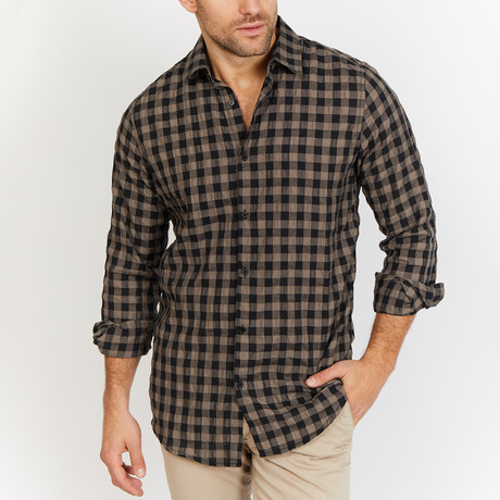 Isaac Checkered Button Up // Black (2XL)