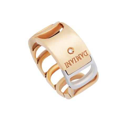 Damiani Damianissima 18k White Gold + 18k Rose Gold Diamond Ring // Ring Size: 6.75