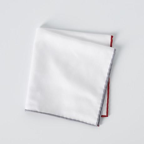 Pocket Square // White + Multi Color