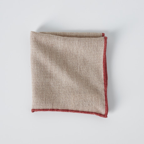 Textured Pocket Square // Beige + Red