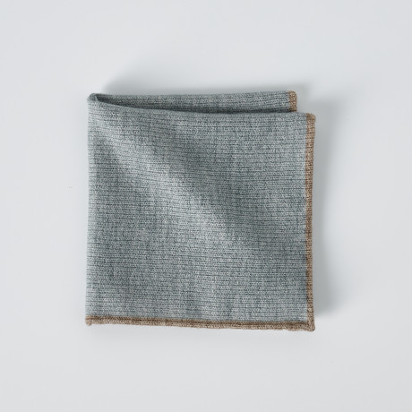 Brunello Cucinelli // Textured Pocket Square // Gray + Beige