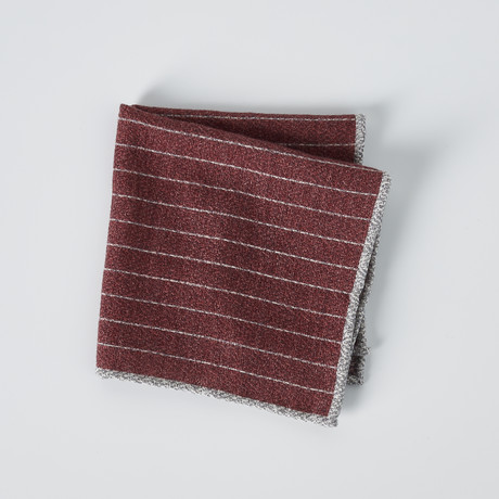 Textured Striped Pocket Square // Red + Gray