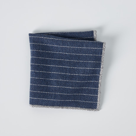 Textured Striped Pocket Square // Blue + Gray