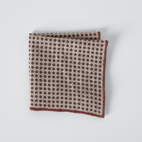 Dotted Pocket Square // Beige + Red