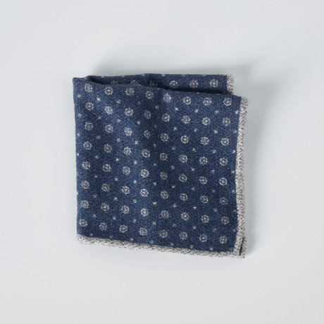 Dotted Pocket Square // Gray + Blue