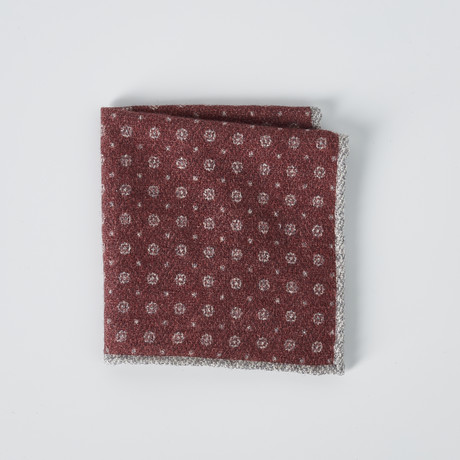 Dotted Pocket Square // Gray + Red