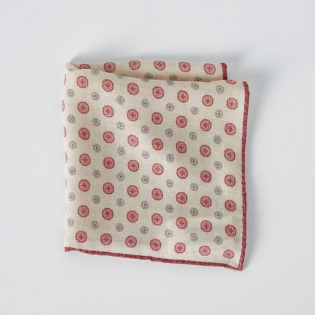 Pocket Square // Cream + Red + Gray