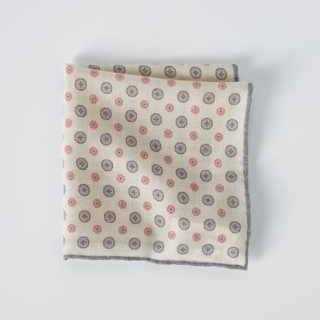 Pocket Square // Cream + Gray + Red