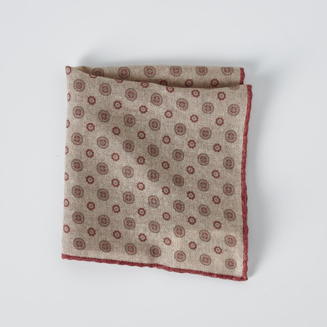 Pocket Square // Beige + Red + Brown