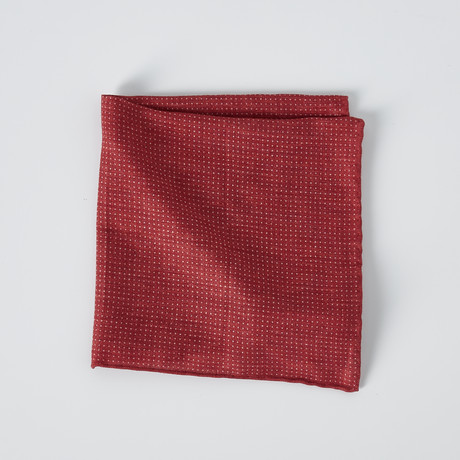 Dotted Pocket Square // Red + White