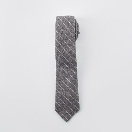 Striped Slim Tie // Gray + White