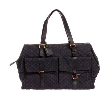 Louis Vuitton // Navy Blue Mini Lin Canvas Leather Louise Weekender Duffle Bag // VI1012 // Pre-Owned