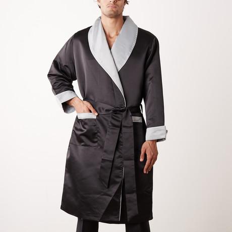 Long Heavyweight Satin Robe // Black + Gray (S)