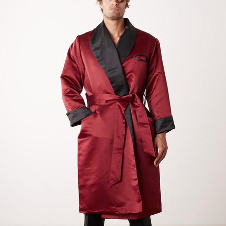 Long Heavyweight Satin Robe // Burgundy + Black (S)