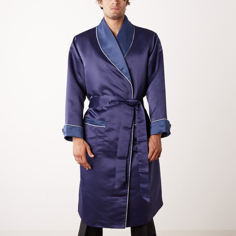 Long Heavyweight Satin Robe // Navy (S)