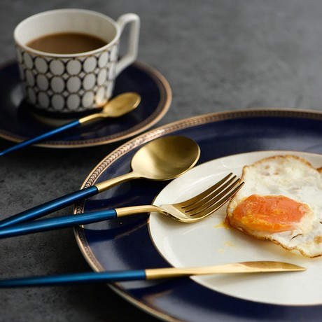 4 Piece Cutlery Set // Blue (Gold Tip)