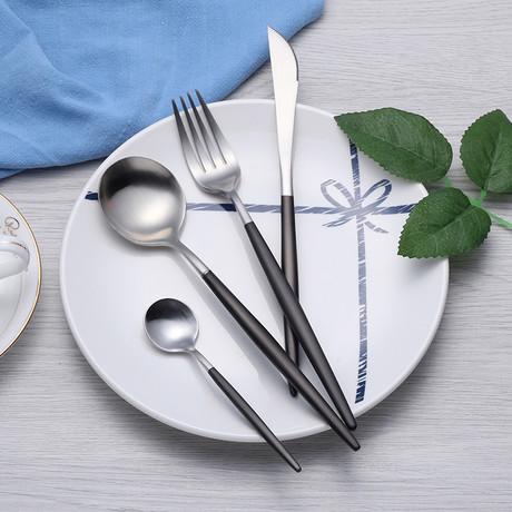 4 Piece Cutlery Set // Black + Silver