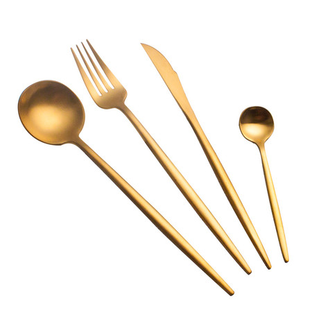 4 Piece Cutlery Set // Solid Gold