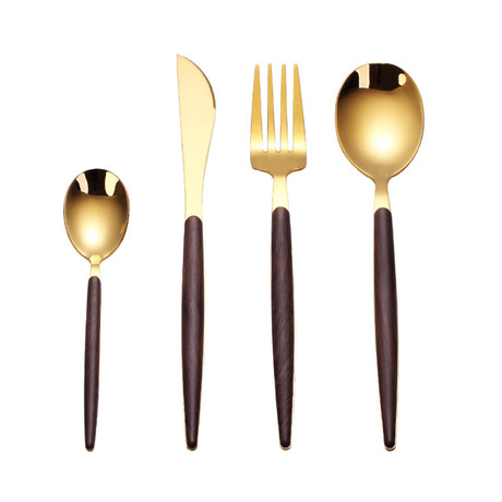 4 Piece Cutlery Set // Wood Grain + Gold