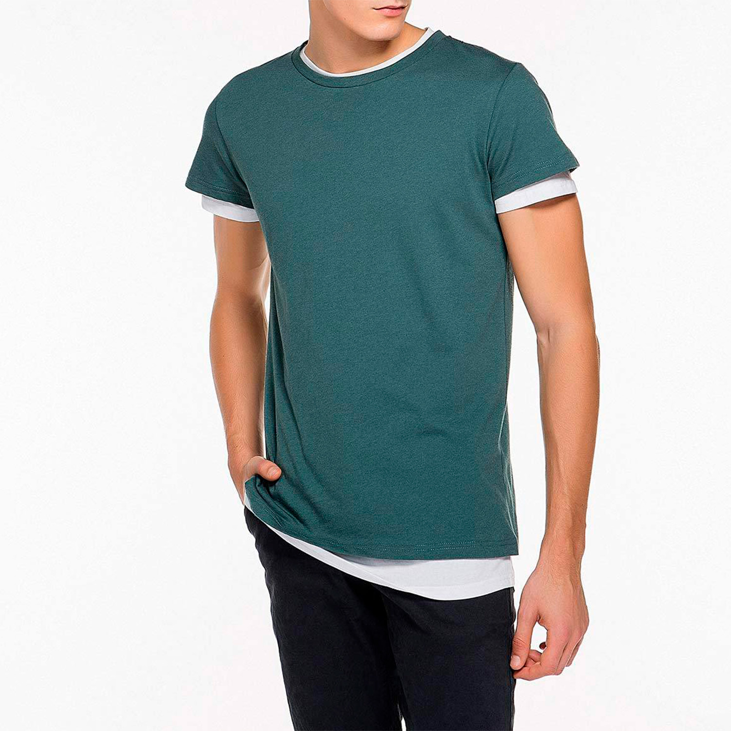 Double Crew Neck Wool Blend T-Shirt // Petrol (S) - The