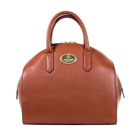 Roberto Cavalli // Leather Bowling Bag // Cognac