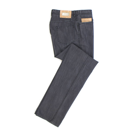 Brioni // Laax Cotton Blend Denim + Crocodile Jeans // Gray (44)