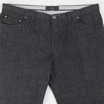 Brioni // Livigno Cotton Denim + Leather Jeans // Gray (44)