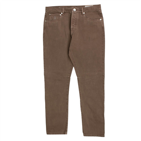 Brunello Cucinelli // Cotton Denim Leisure Fit Jeans // Brown (44)