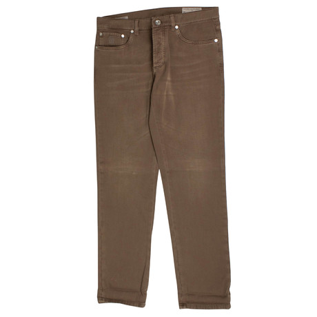 Brunello Cucinelli // Cotton Denim Five Pocket Jeans // Brown (44)