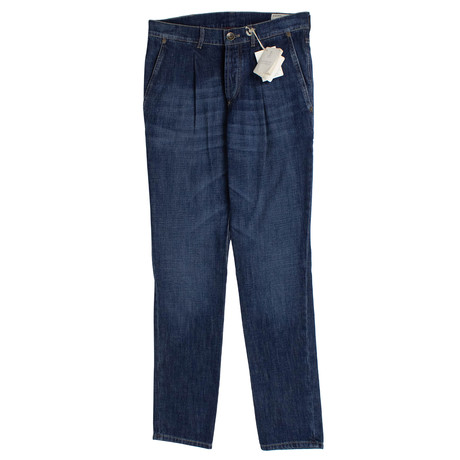 Brunello Cucinelli // Faded Denim Pleated Jeans // Blue (44)