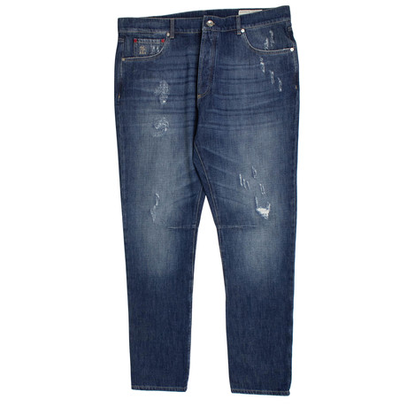 Brunello Cucinelli // Faded Distressed Denim Jeans // Blue (44)