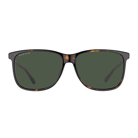 Gucci // GG0017S-007-57 Polarized Sunglasses // Havana + Green