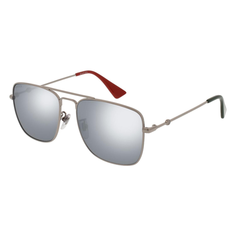 41e6e10ae3b Men s GG0108S-005-55 Sunglasses    Silver + Siver Mirror - Gucci ...