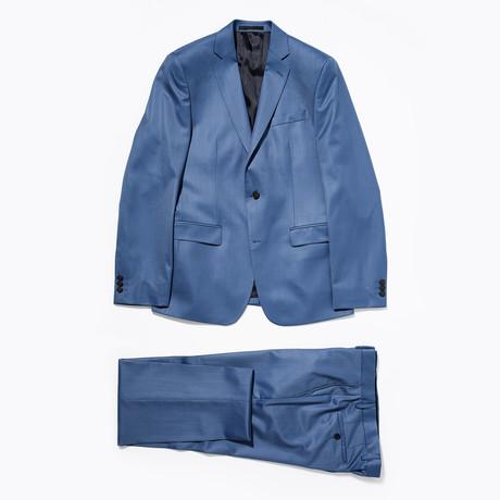 Notched Lapel Wool Suit // Blue (Euro: 46)