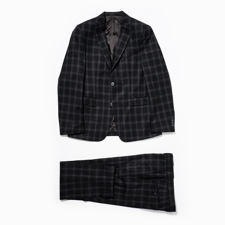Plaid Two Button Wool Suit // Black (Euro: 46)
