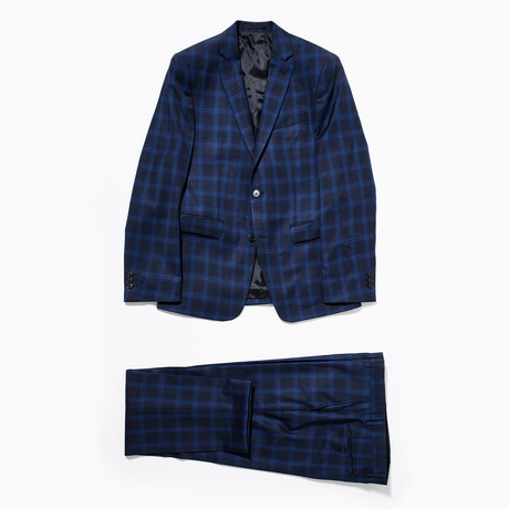 Plaid Two Button Wool Suit // Blue (Euro: 46)