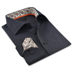 Button-Up Shirt // Charcoal + Beige (M)