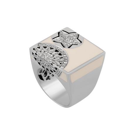 Nouvelle Bague India Preziosa 18k White Gold Diamond + White Enamel Ring // Ring Size: 7.5