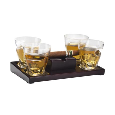 Cigar Set// Ashtray + 4 Glasses