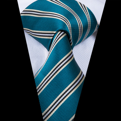 Denis Handmade Tie // Teal Stripe