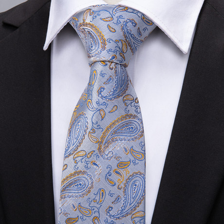 Legendre Handmade Tie // Light Blue Paisley
