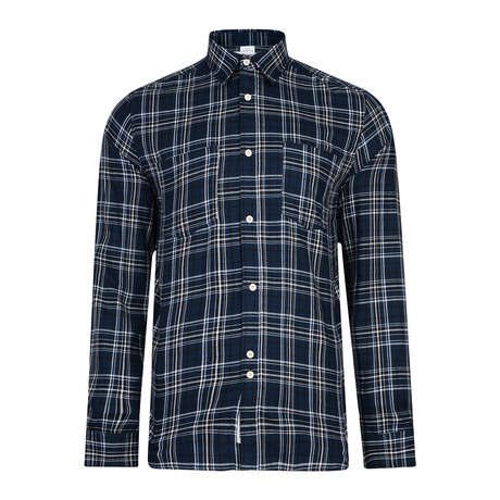 Manitoba Long Sleeve Check Shirt // Navy (XS)