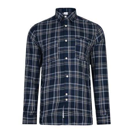 Manitoba Long Sleeve Check Shirt // Navy (S)