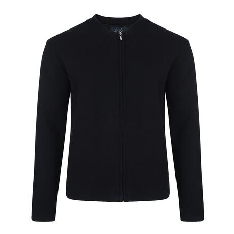 Moase Tech Knit Zipper Cardigan // Black (S)