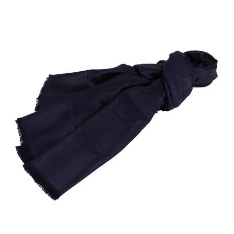 Cannage Silk-Wool Scarf // Navy Blue